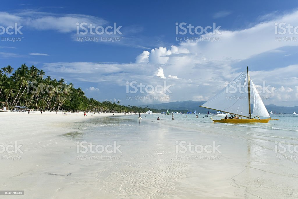 boracay island white beach sailing philippines royalty-free stock photo