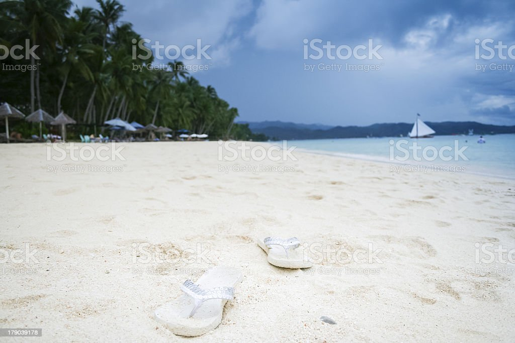 boracay white sand beach flip flops philippines royalty-free stock photo