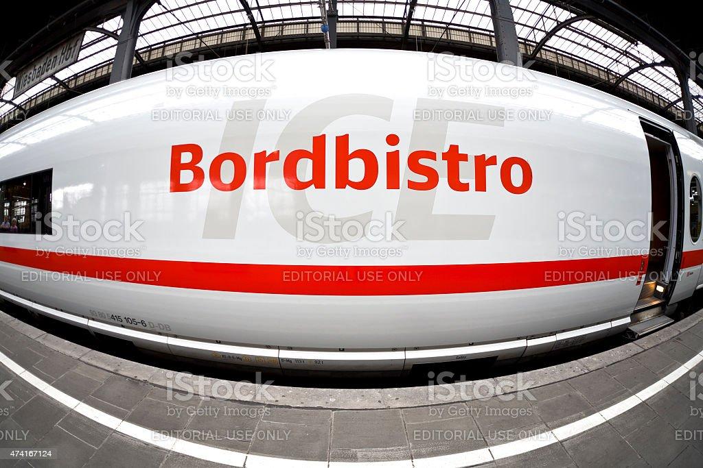 Bordbistro, ICE train, fish-eye lens stock photo