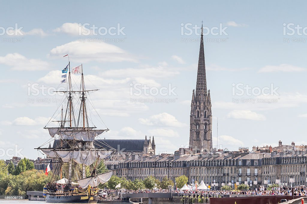 Bordeaux - Ancient sailing ship and St Michel catherdral stock photo