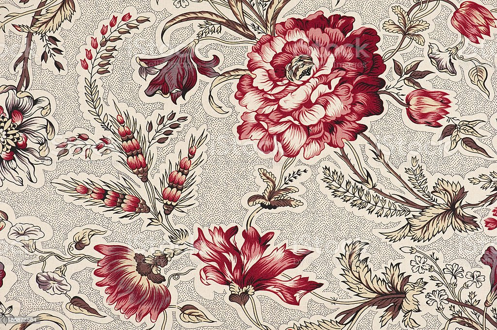 Bordeaux Close Up Antique Floral Fabric royalty-free stock photo
