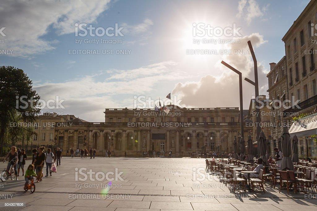 Bordeaux - Hotel de Ville with sunlight stock photo