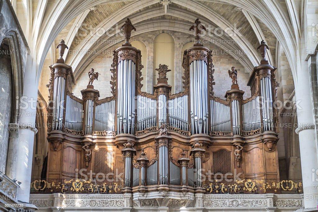 Bordeaux - Pipe organ of Cathédrale Saint-André stock photo
