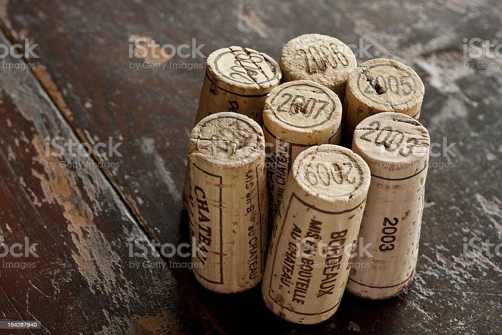 Bordeaux red wine bottle corks stock photo