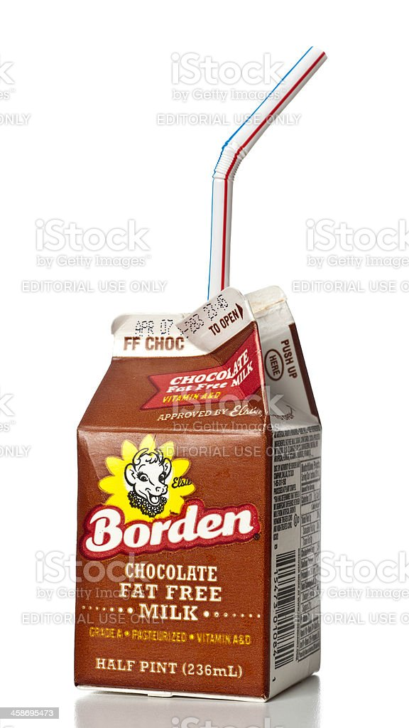 Borden Chocolate Fat Free Milk half pint stock photo