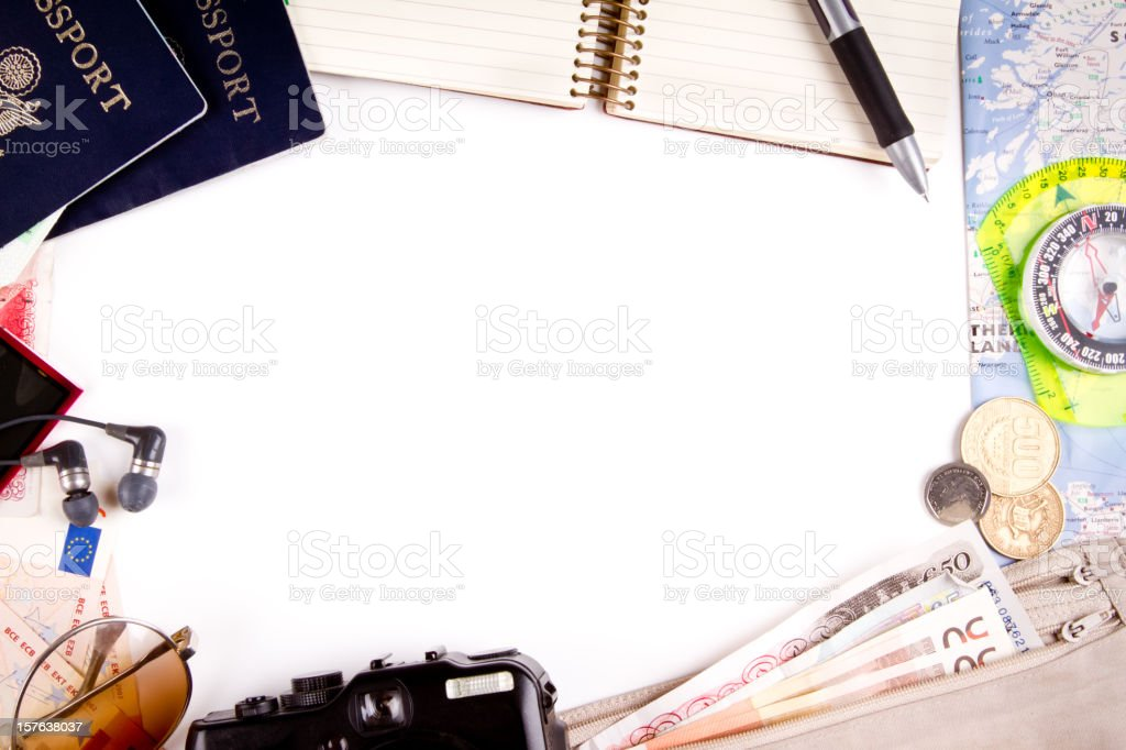 Border Background with Travel Themes and passports stock photo