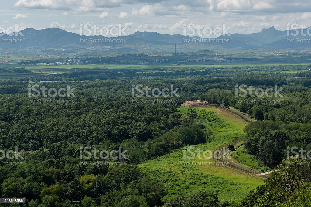 Border between South and Norh Korea stock photo