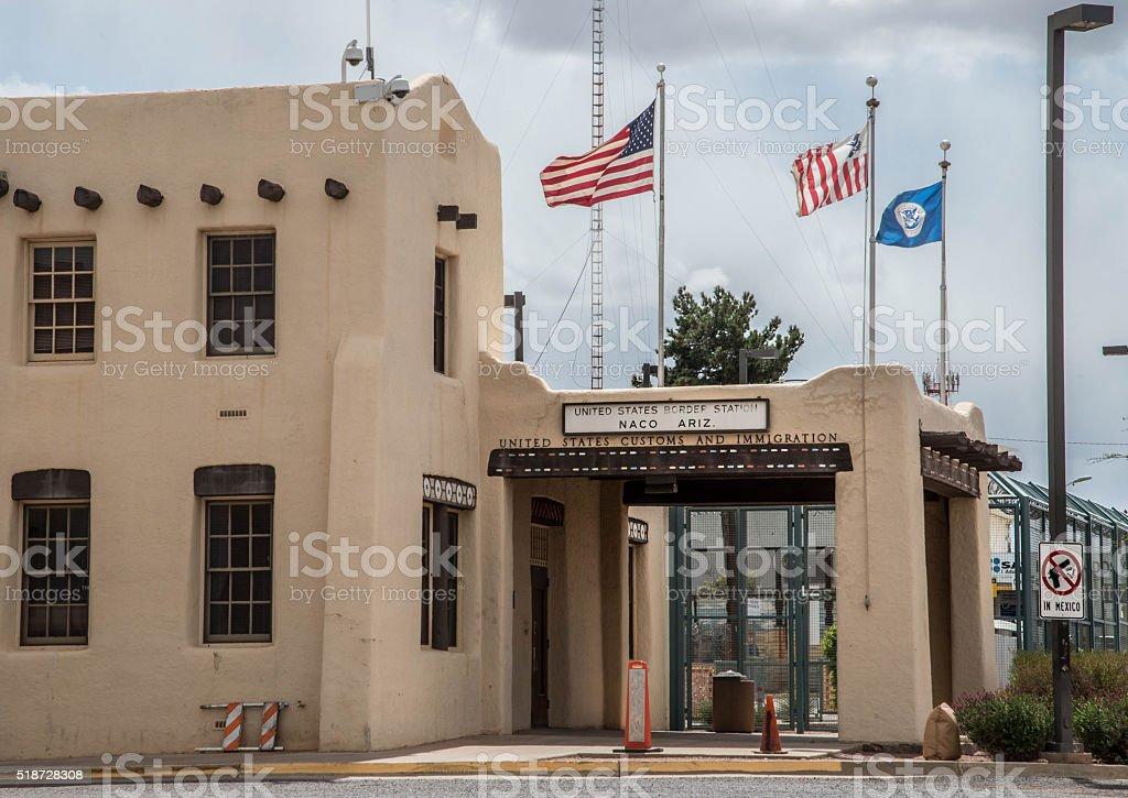 Border checkpoint at Naco Arizona stock photo