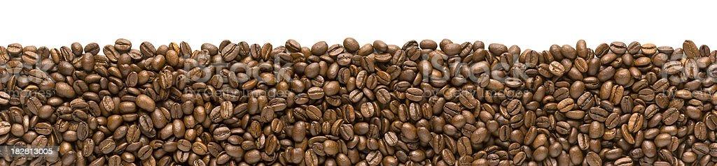 Border - Coffee Beans on White Background. Horizontal. royalty-free stock photo