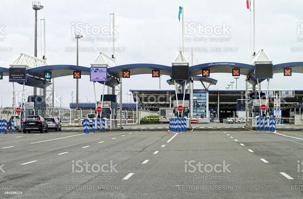 border control at port of Calais , France stock photo