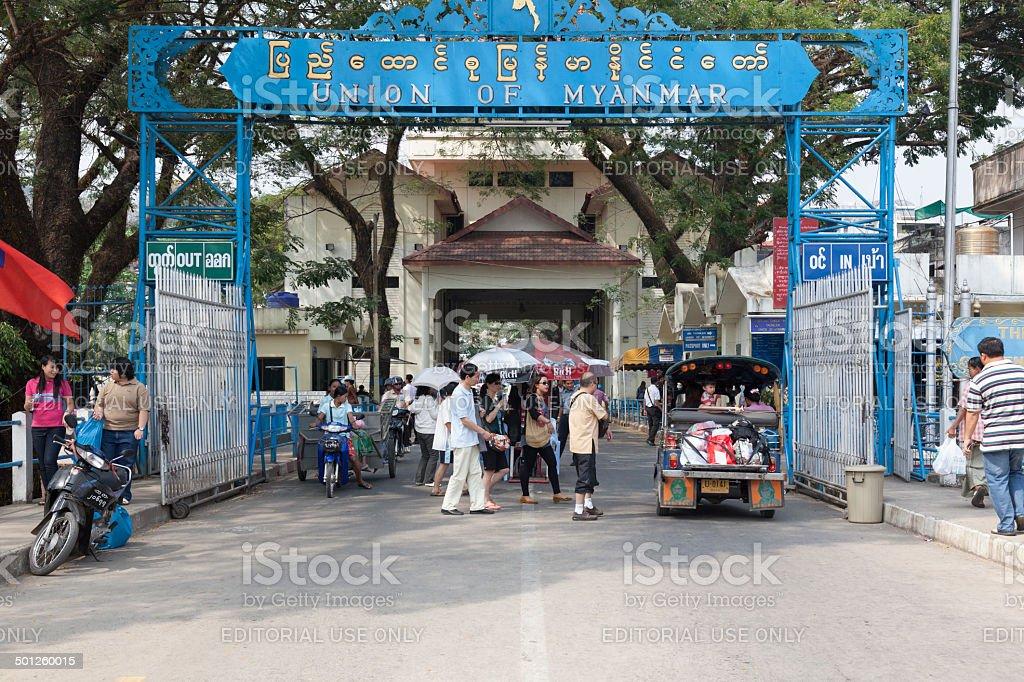 Border crossing between Tachilek and Mae Sai stock photo