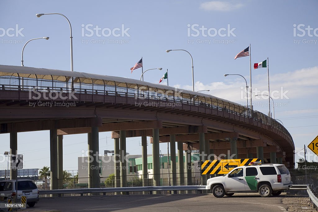 Border Crossing Between US and Mexico royalty-free stock photo