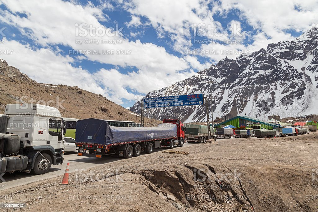 Border crossing from Argentina to Chile stock photo