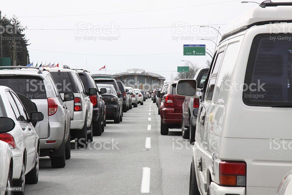 Border crossing traffic jam stock photo