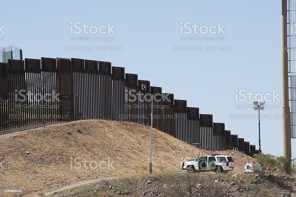 Border Fence and Patrol in Nogales, Arizona stock photo