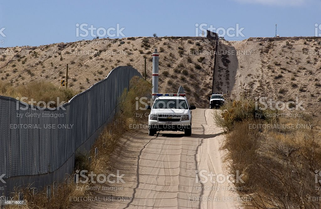 Border Fence and US Patrol stock photo