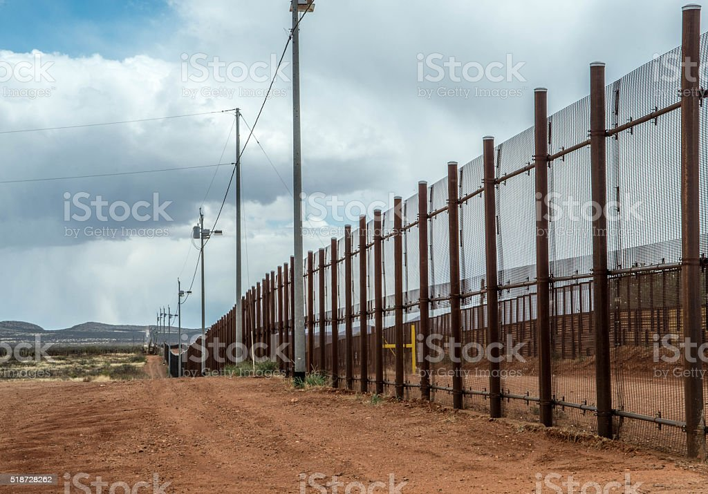 Border fence at Naco Arizona stock photo
