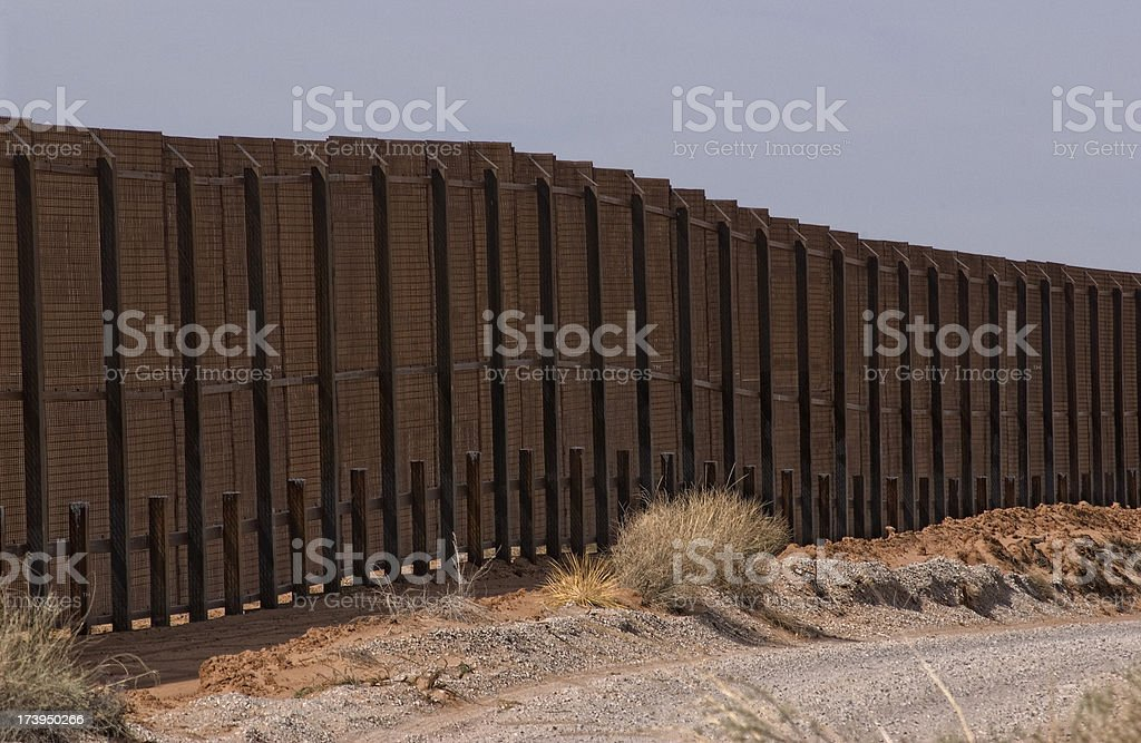 Border fence between USA and the northern state of Mexico royalty-free stock photo