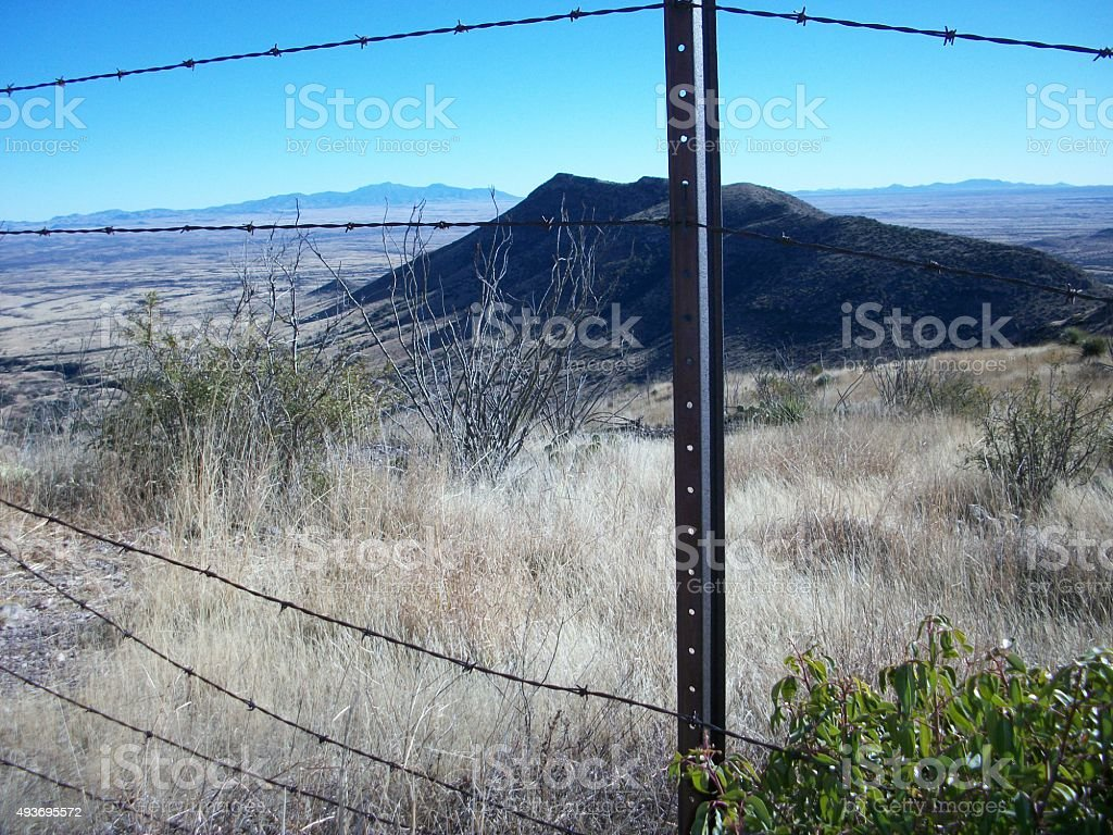 Border Fence in Southeast Arizona stock photo