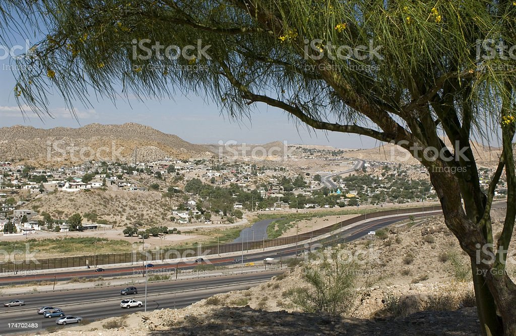 Border Fence Separating El Paso and Juarez royalty-free stock photo