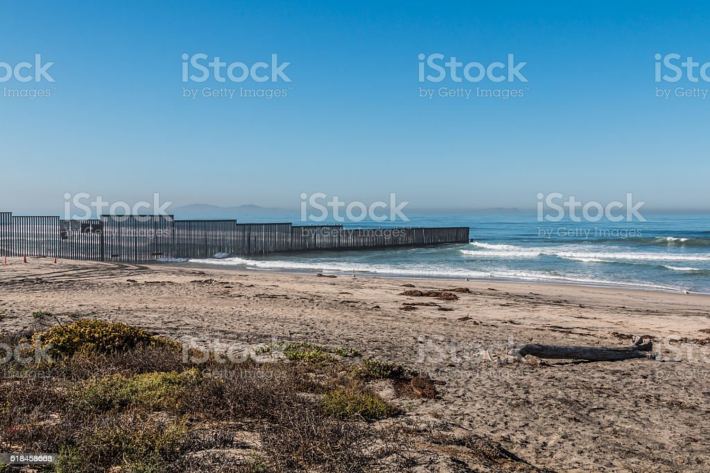 Border Field State Park Beach with Tijuana, Mexico in Distance stock photo