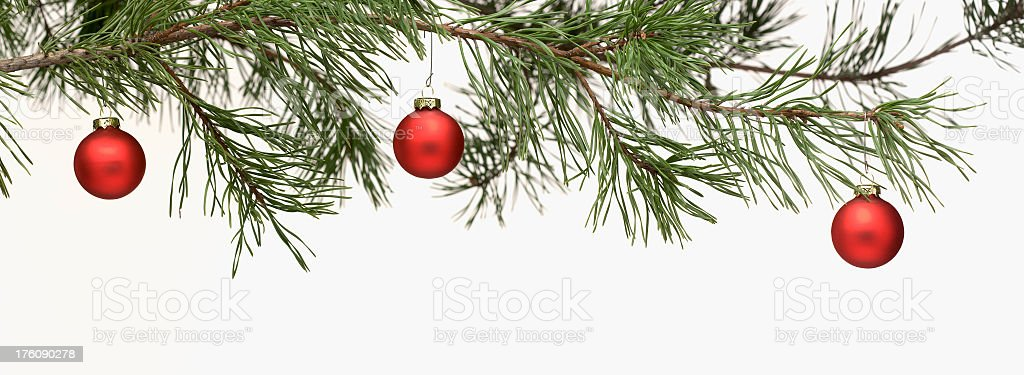 Border - Green Pine Branch with Red Christmas Ornaments. stock photo