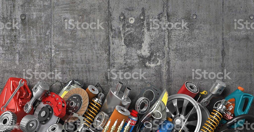 Border of auto parts on concrete wall. stock photo