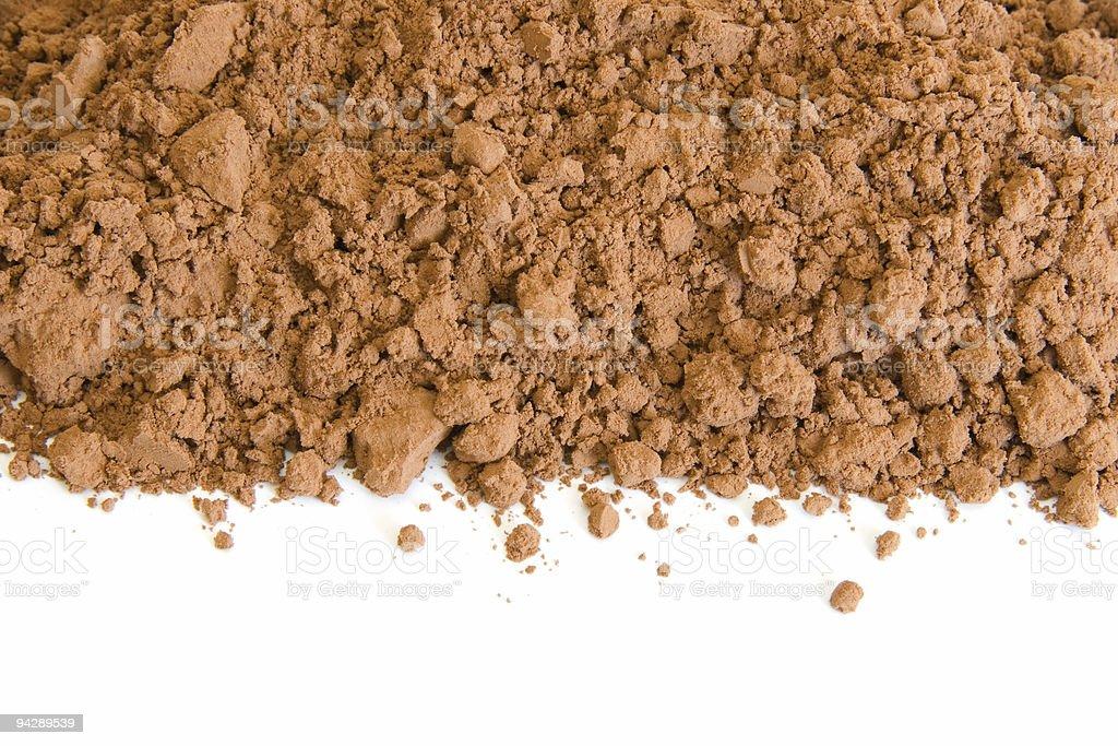 Border of cocoa powder on white royalty-free stock photo