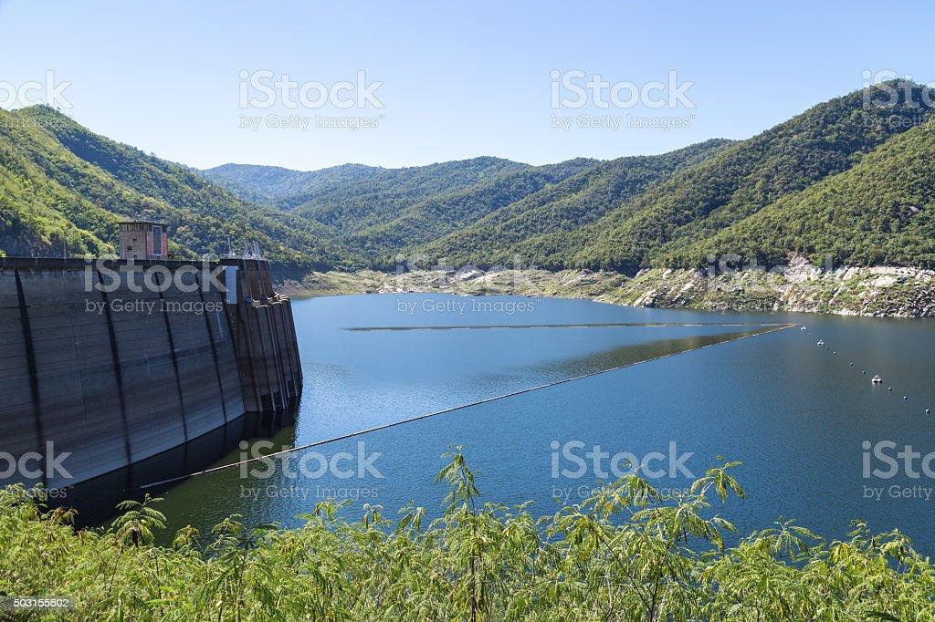 Border of dam stock photo