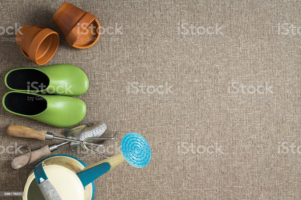 Border of gardening tools and equipment stock photo