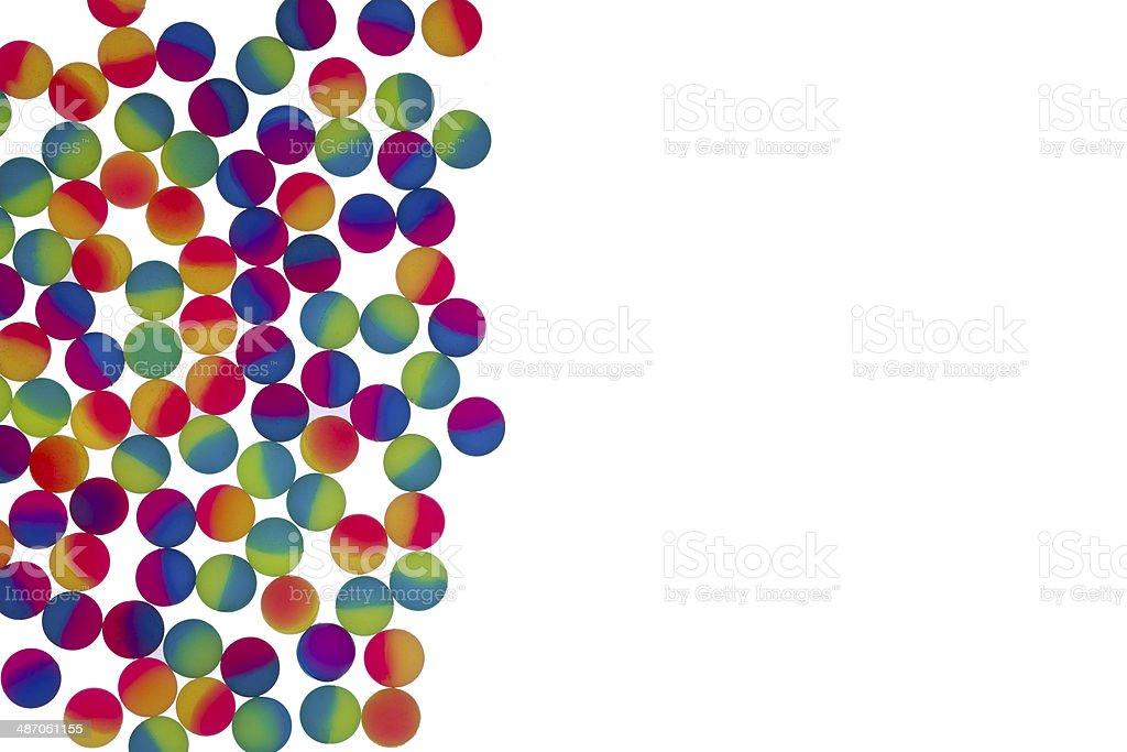 Border of illuminated bicolor plastic balls stock photo