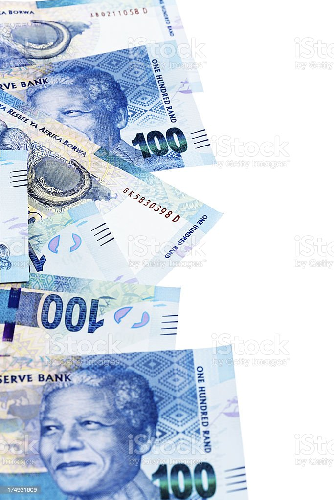 Border of South African Hundred Rand banknotes featuring Nelson Mandela royalty-free stock photo