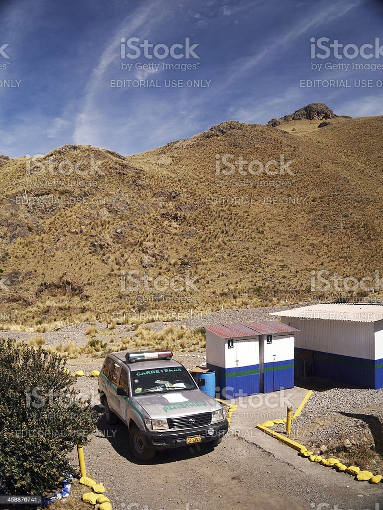 Border patrol vehicle in Peruvian interior stock photo