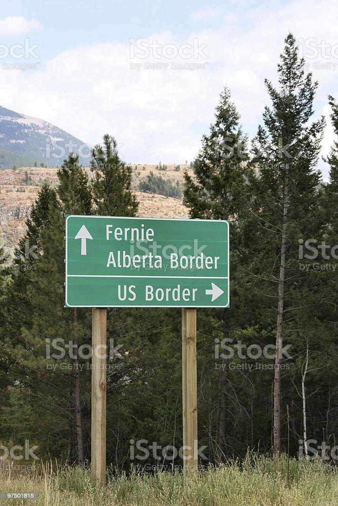 US Border roadsign stock photo