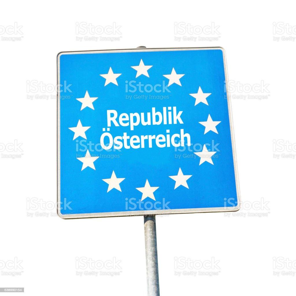 Border sign of austria, europe stock photo