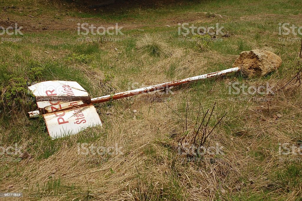 Border warning sign released from soil (SK) royalty-free stock photo