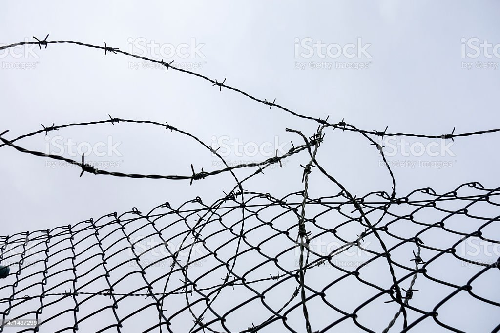 Border wire fence stock photo