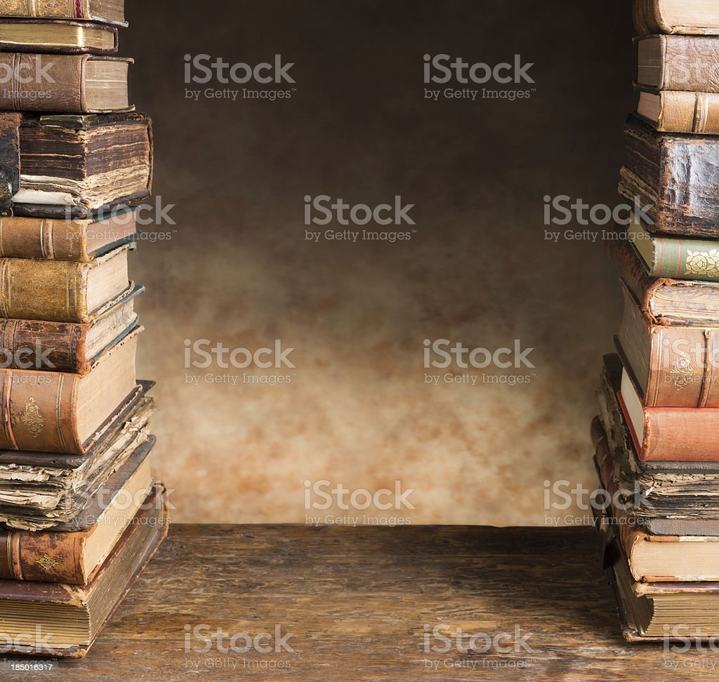 Border with antique books royalty-free stock photo