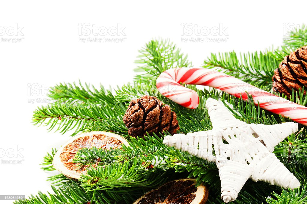 Border with Christmas tree branches and vintage decorations royalty-free stock photo