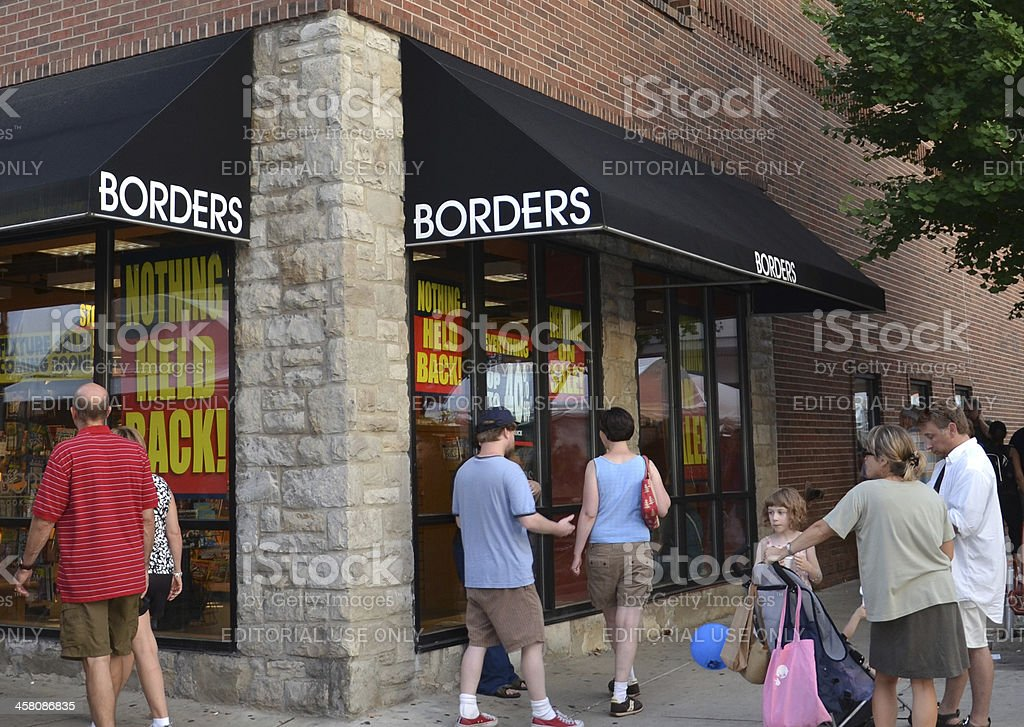 Borders flagship store liquidation sale stock photo