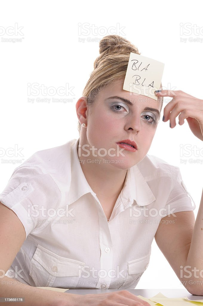 Bored at the office, post-it on his forehead royalty-free stock photo