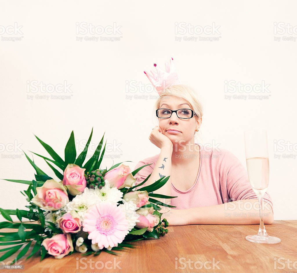Bored birthday party girl royalty-free stock photo