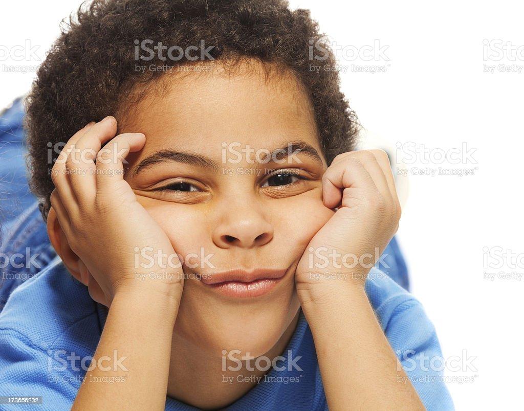 Bored black boy royalty-free stock photo