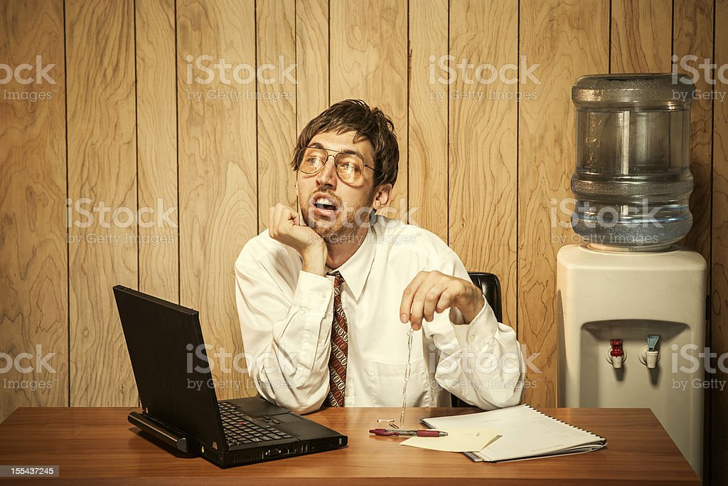 Bored Business Man in Office stock photo