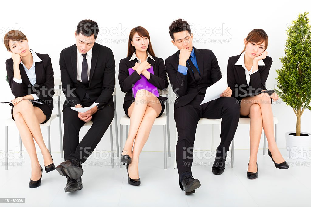 bored business people waiting for interview stock photo