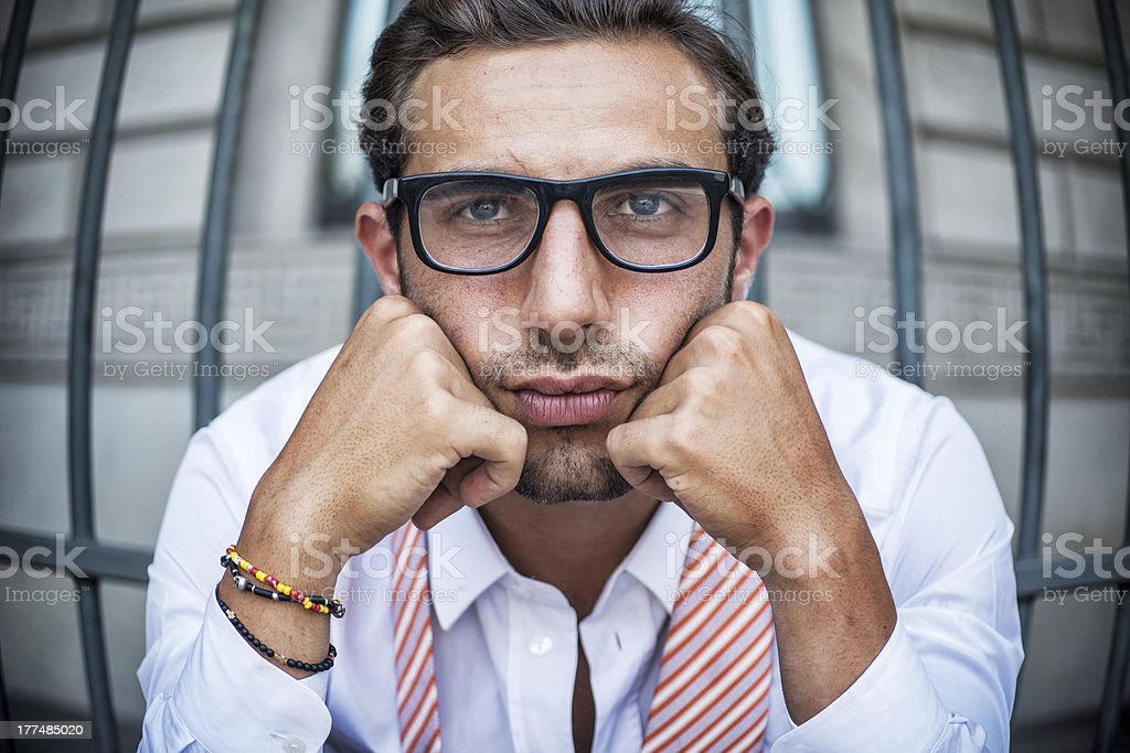 Bored Businessman in Prison royalty-free stock photo