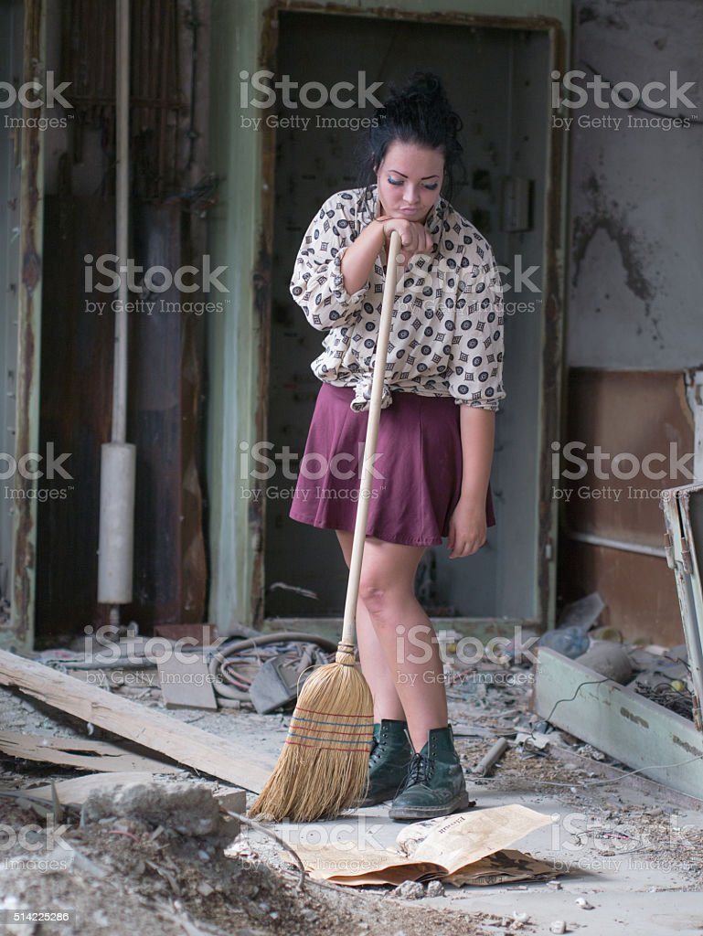 bored cleaning girl stock photo