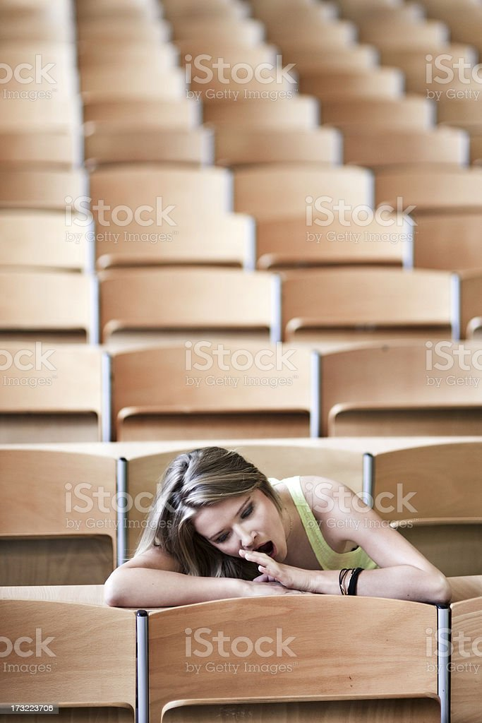 Bored female student royalty-free stock photo