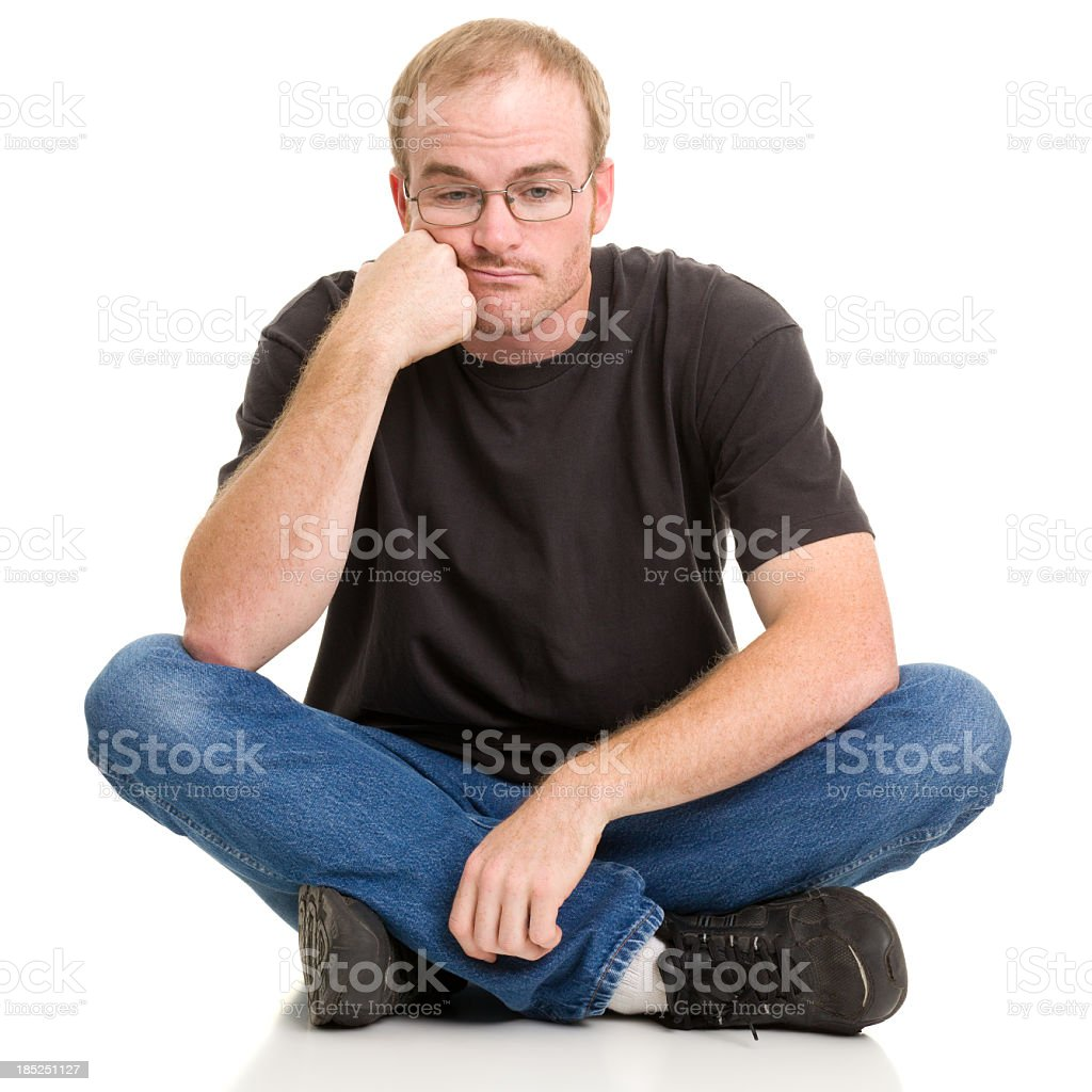 Bored Man Sitting With Legs Crossed royalty-free stock photo
