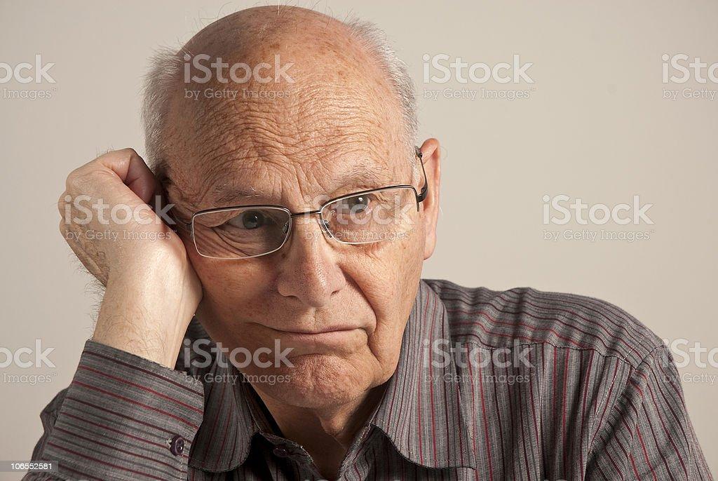 Bored senior man stock photo